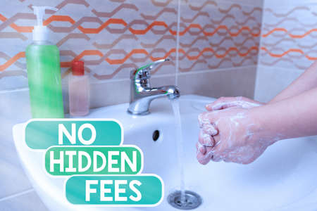 Conceptual hand writing showing No Hidden Fees. Concept meaning without or zero bank charge, service charge, or extras Handwashing procedures for minimizing bacterial growth