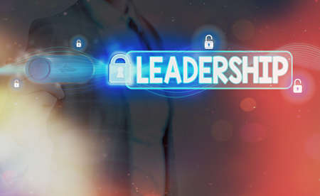 Word writing text Leadership. Business photo showcasing art of motivating to act toward achieving a common goal Graphics padlock for web data information security application system