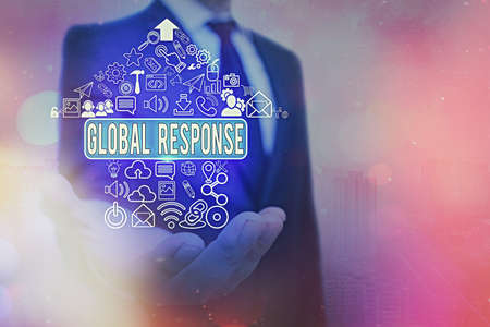 Word writing text Global Response. Business photo showcasing indicates the behaviour of material away from impact point Information digital technology network connection infographic elements icon Stock fotó