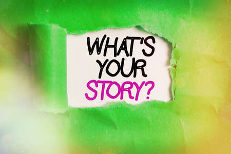 Word writing text What S Your Story Question. Business photo showcasing Share or tell us your life experiences and success Rolled ripped torn cardboard placed above a wooden classic table backdrop