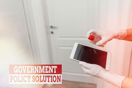 Word writing text Government Policy Solution. Business photo showcasing designed game plan created in response to emergency disaster Contamination within electronic gadgets sufaces controlled by disinfectant