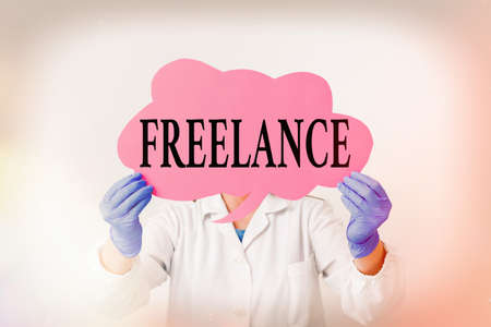 Text sign showing Freelance. Business photo text working at different firms rather than being permanently Laboratory technician featuring empty sticker paper accessories smartphone