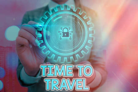 Writing note showing Time To Travel. Business concept for Collect moments Old ways won t open new doors. Let s is go explore. Graphics padlock for web data information security application system