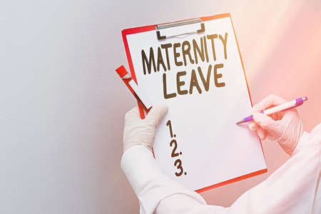 Word writing text Maternity Leave. Business photo showcasing a leave of absence for an expectant or a new mother Laboratory blood test sample shown for medical diagnostic analysis result