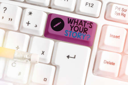 Conceptual hand writing showing What S Your Story Question. Concept meaning Share or tell us your life experiences and success Colored keyboard key with accessories arranged on copy space