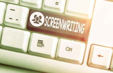 Handwriting text Screenwriting. Conceptual photo the art and craft of writing scripts for media communication Different colored keyboard key with accessories arranged on empty copy space