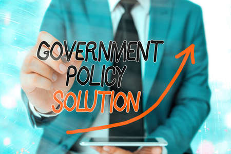 Word writing text Government Policy Solution. Business photo showcasing designed game plan created in response to emergency disaster digital arrowhead curve rising upward denoting growth development concept