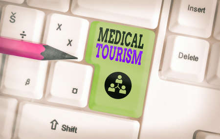 Word writing text Medical Tourism. Business photo showcasing traveling to another country seeking for medical care Different colored keyboard key with accessories arranged on empty copy space