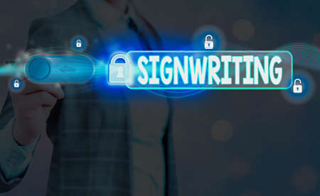 Word writing text Signwriting. Business photo showcasing any type of clear lettering intended for use on symbols Graphics padlock for web data information security application system