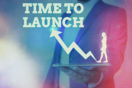 Word writing text Time To Launch. Business photo showcasing Business StartUp, planning and strategy, management, realization Arrow symbol going upward denoting points showing significant achievement
