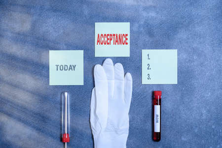 Word writing text Acceptance. Business photo showcasing when you agree to take something officially or act of taking it Extracted blood sample vial with medical accessories ready for examination