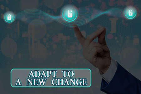 Text sign showing Adapt To A New Change. Business photo showcasing Get used to latest Mindset and Behavior Innovation Graphics padlock for web data information security application system