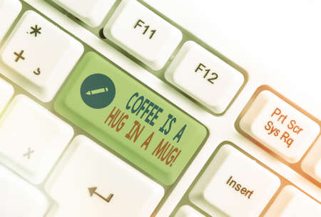 Handwriting text writing Coffee Is A Hug In A Mug. Conceptual photo Expressing love feelings by giving hot beverages Different colored keyboard key with accessories arranged on empty copy space