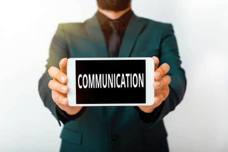 Text sign showing Communication. Business photo showcasing a system whereby information is exchanged between individuals Model displaying black screen modern smartphone mock-up for personal interest