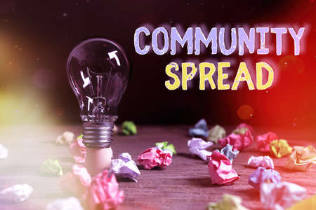 Writing note showing Community Spread. Business concept for dissemination of a highlycontagious disease within the local area Realistic colored vintage light bulbs, idea sign solution