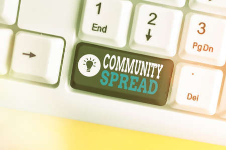 Text sign showing Community Spread. Business photo text dissemination of a highlycontagious disease within the local area Different colored keyboard key with accessories arranged on empty copy space