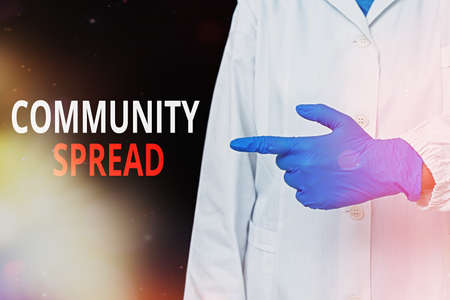 Word writing text Community Spread. Business photo showcasing dissemination of a highlycontagious disease within the local area Displaying empty sticker paper accessories smartphone with medical gloves on