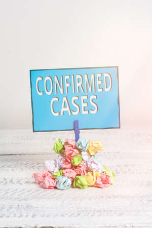 Text sign showing Confirmed Cases. Business photo showcasing set of circumstances or conditions requiring action Reminder pile colored crumpled paper clothespin reminder white wooden space