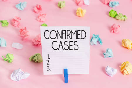 Conceptual hand writing showing Confirmed Cases. Concept meaning set of circumstances or conditions requiring action Colored crumpled papers empty reminder pink floor clothespin