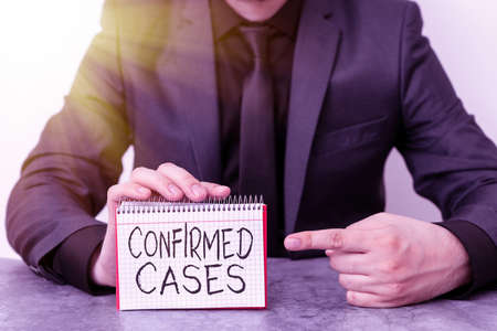 Writing note showing Confirmed Cases. Business concept for set of circumstances or conditions requiring action Model displaying different empty color notepad mock-up for writing idea