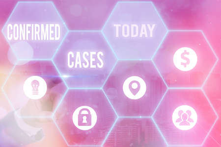 Text sign showing Confirmed Cases. Business photo text set of circumstances or conditions requiring action Grids and different set up of the icons latest digital technology concept