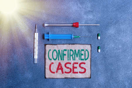 Text sign showing Confirmed Cases. Business photo text set of circumstances or conditions requiring action Set of medical equipment with notepad for professional health condition assessment