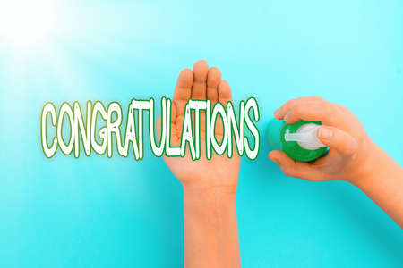 Handwriting text Congratulations. Conceptual photo a special occasion that expressing gratitude or good wishes Handwashing procedures for decontamination and minimizing bacterial growth Stock Photo