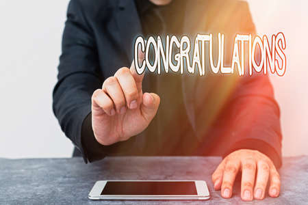 Text sign showing Congratulations. Business photo text a special occasion that expressing gratitude or good wishes Model displaying black screen modern smartphone mock-up for personal interest