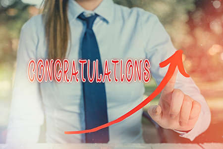 Handwriting text writing Congratulations. Conceptual photo a special occasion that expressing gratitude or good wishes digital arrowhead curve rising upward denoting growth development concept Stock Photo