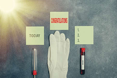 Word writing text Congratulations. Business photo showcasing a special occasion that expressing gratitude or good wishes Extracted blood sample vial with medical accessories ready for examination Stock Photo