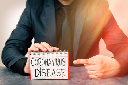 Writing note showing Coronavirus Disease. Business concept for defined as illness caused by a novel virus SARSCoV2 Model displaying different empty color notepad mock-up for writing idea