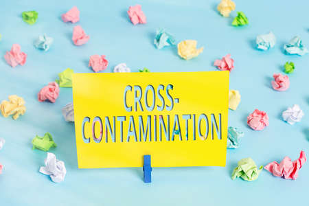 Text sign showing Cross Contamination. Business photo text Unintentional transmission of bacteria from one substance to another Colored crumpled papers empty reminder blue floor background clothespin