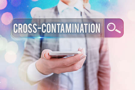 Text sign showing Cross Contamination. Business photo showcasing Unintentional transmission of bacteria from one substance to another Web search digital information futuristic technology network connection Stok Fotoğraf