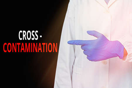 Word writing text Cross Contamination. Business photo showcasing Unintentional transmission of bacteria from one substance to another Displaying empty sticker paper accessories smartphone with medical gloves on Stok Fotoğraf