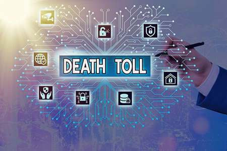 Writing note showing Death Toll. Business concept for the number of deaths resulting from a particular incident System administrator control, gear configuration settings tools concept