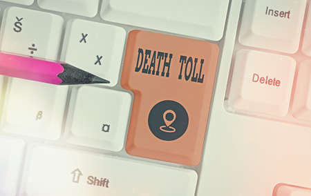 Handwriting text writing Death Toll. Conceptual photo the number of deaths resulting from a particular incident Different colored keyboard key with accessories arranged on empty copy space 版權商用圖片