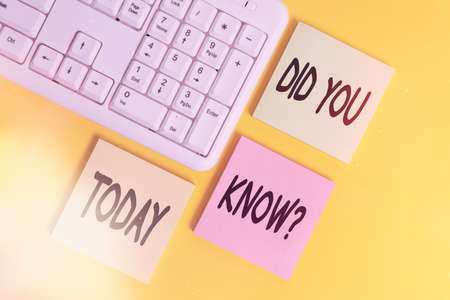 Handwriting text Did You Know Question. Conceptual photo when you are asking someone if they know fact or event Colored empty papers with copy space on the yellow background table with pc keyboard