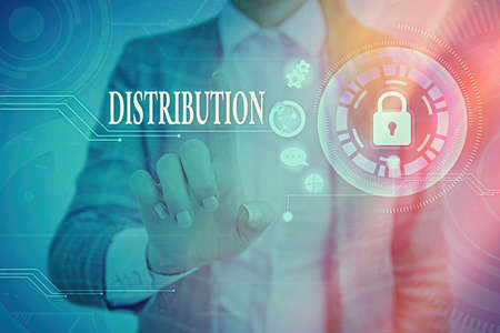 Word writing text Distribution. Business photo showcasing the behavior of several recipients sending something out Graphics padlock for web data information security application system