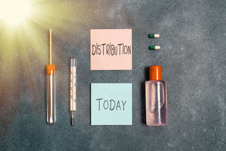 Word writing text Distribution. Business photo showcasing the behavior of several recipients sending something out Set of medical equipment with notepad for health condition assessment