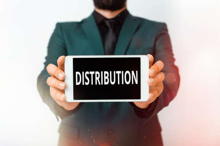 Text sign showing Distribution. Business photo showcasing the behavior of several recipients sending something out Model displaying black screen modern smartphone mock-up for personal interest