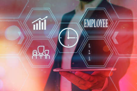Word writing text Employee. Business photo showcasing an individual working for wages in particular at the nonexecutive level Grids and different set up of the icons latest digital technology concept Foto de archivo