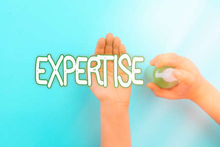 Handwriting text Expertise. Conceptual photo specific competences of skills gained through training practice Handwashing procedures for decontamination and minimizing bacterial growth