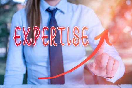Handwriting text writing Expertise. Conceptual photo specific competences of skills gained through training practice digital arrowhead curve rising upward denoting growth development concept