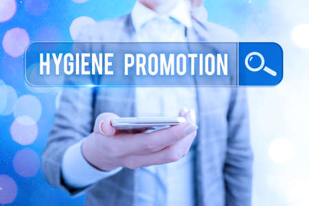 Text sign showing Hygiene Promotion. Business photo showcasing systematic program to prevent related disease with sanitation Web search digital information futuristic technology network connection Stock Photo