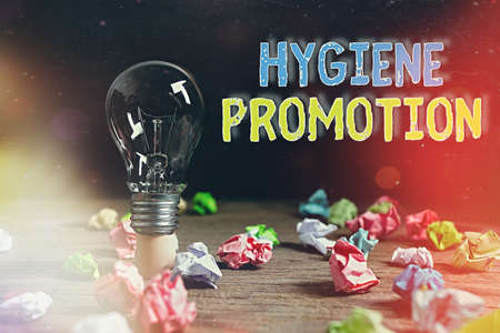 Writing note showing Hygiene Promotion. Business concept for systematic program to prevent related disease with sanitation Realistic colored vintage light bulbs, idea sign solution