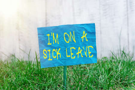 Text sign showing Im On A Sick Leave. Business photo showcasing paid time off from work to address their health issue Plain empty paper attached to a stick and placed in the green grassy land Stockfoto