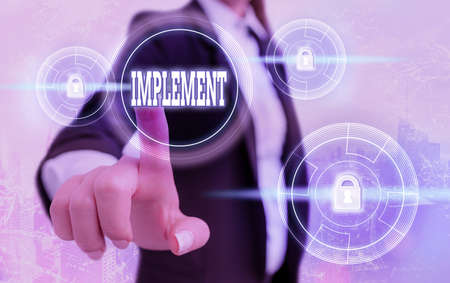 Text sign showing Implement. Business photo showcasing give practical effect to specific steps to ensure real attainment Graphics padlock for web data information security application system Stock Photo