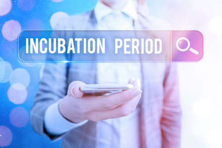 Text sign showing Incubation Period. Business photo showcasing time elapsed starting from getting exposed to an infectious agent Web search digital information futuristic technology network connection