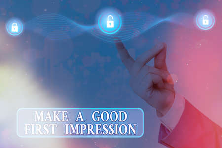Text sign showing Make A Good First Impression. Business photo showcasing Introduce yourself in a great look and mood Graphics padlock for web data information security application system