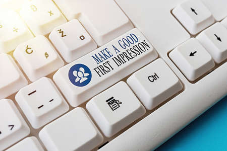 Conceptual hand writing showing Make A Good First Impression. Concept meaning Introduce yourself in a great look and mood Pc keyboard key with note paper above background copy space